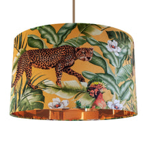 Load image into Gallery viewer, NEW: Jungle Velvet gold lampshade with mirror copper liner