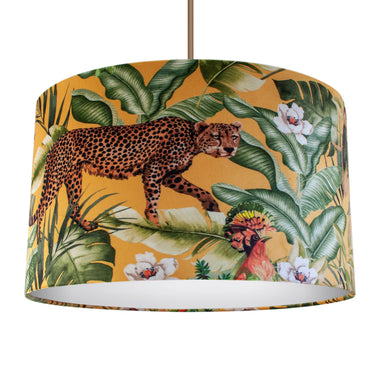 Jungle Velvet gold lampshade with white opaque liner