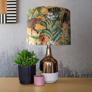 NEW: Jungle Velvet gold lampshade with white opaque liner