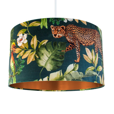 Jungle Velvet teal lampshade with brushed copper liner