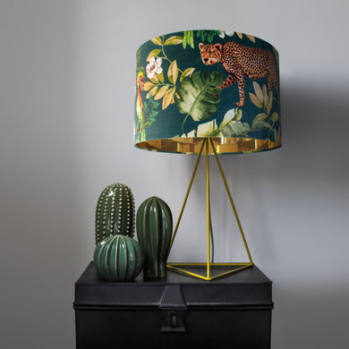 Jungle Velvet teal lampshade with mirror gold liner