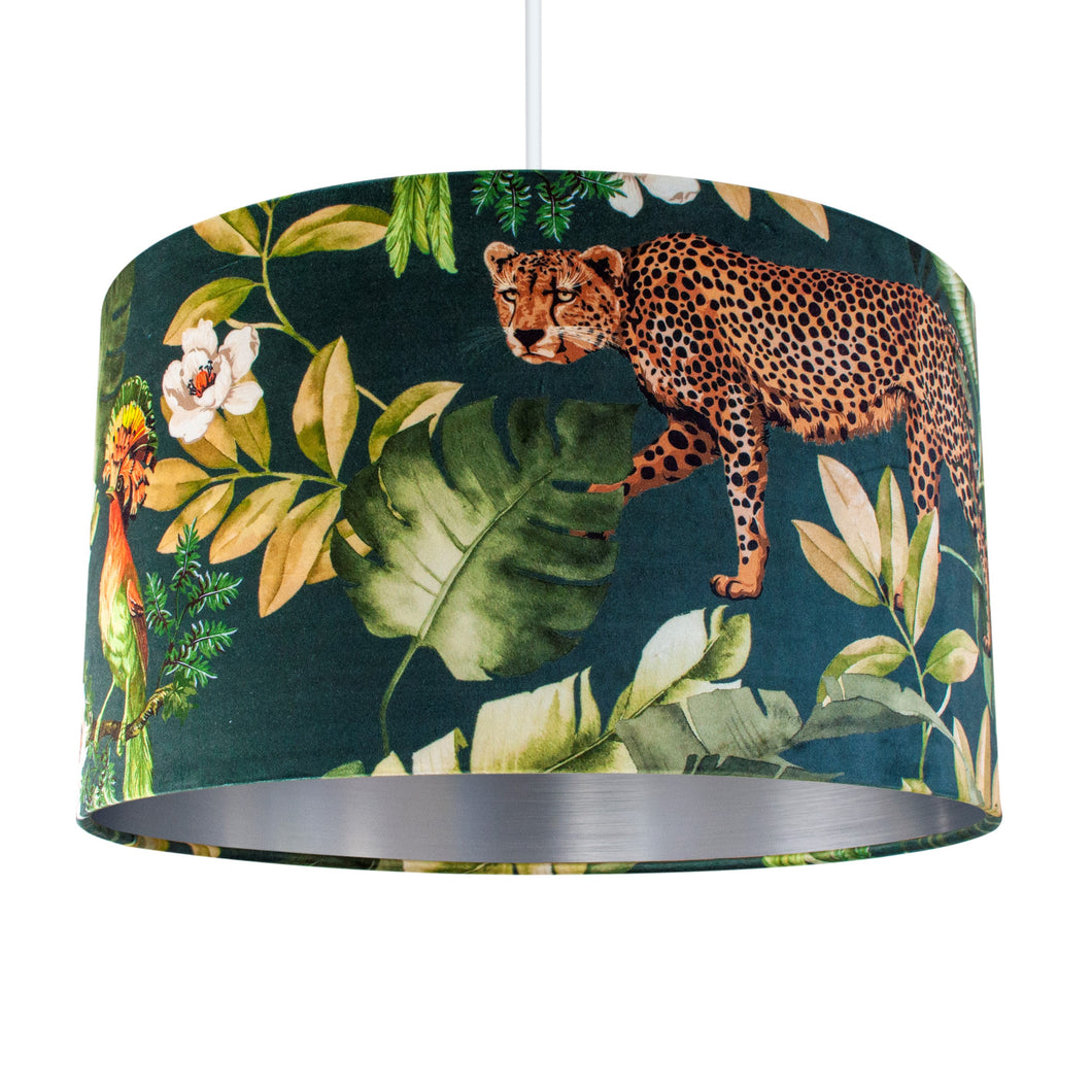 NEW: Jungle Velvet teal lampshade with brushed silver liner