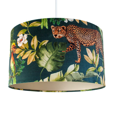 Jungle Velvet teal lampshade with champagne liner