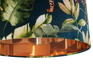 NEW: Jungle Velvet teal lampshade with mirror copper liner
