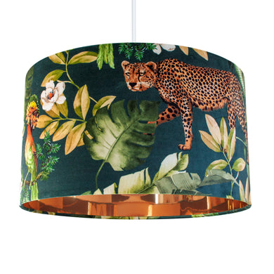 Jungle Velvet teal lampshade with mirror copper liner