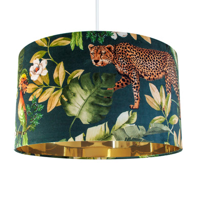 NEW: Jungle Velvet teal lampshade with mirror gold liner