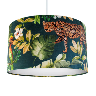 Jungle Velvet teal lampshade with white opaque liner
