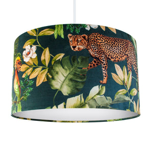 NEW: Jungle Velvet teal lampshade with white opaque liner