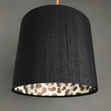 Load image into Gallery viewer, Leopard print wallpaper with black silk lampshade