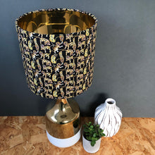 Load image into Gallery viewer, Liberty of London black tiger and gold metallic lampshade