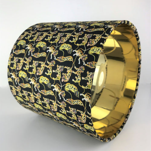 Liberty of London black tiger and gold metallic lampshade