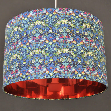 Liberty of London 'Strawberry Thief' with mirror copper lampshade
