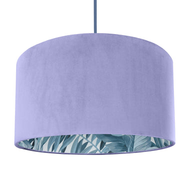 New! Lilac velvet with blue leaf lampshade