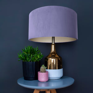 Lilac velvet with champagne liner lampshade