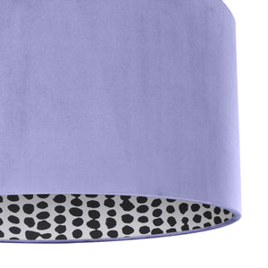 NEW! Lilac velvet with monochrome dot lampshade