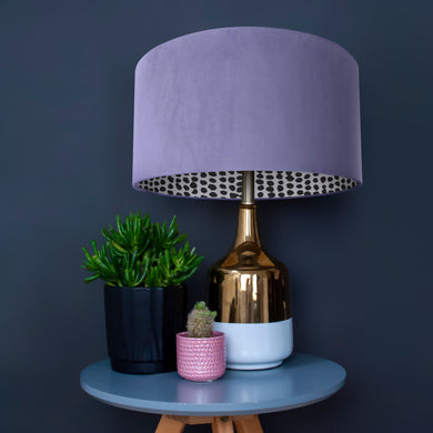 Lilac velvet with monochrome dot lampshade