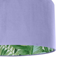 Load image into Gallery viewer, Lilac velvet with green leaf lampshade