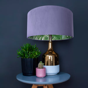 Lilac velvet with green leaf lampshade