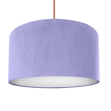 Load image into Gallery viewer, Lilac velvet with opaque white liner lampshade