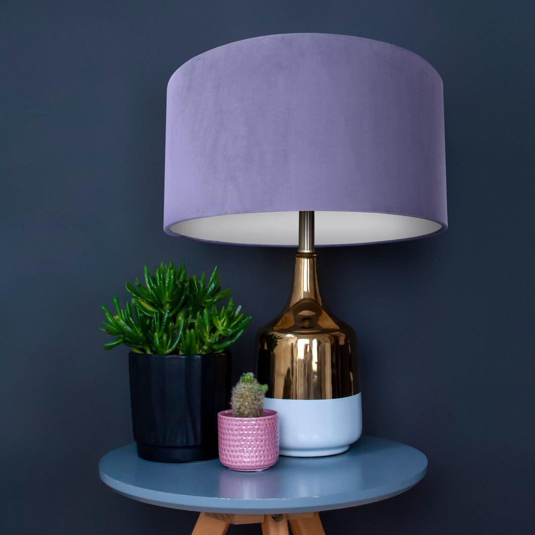 Lilac velvet with opaque white liner lampshade