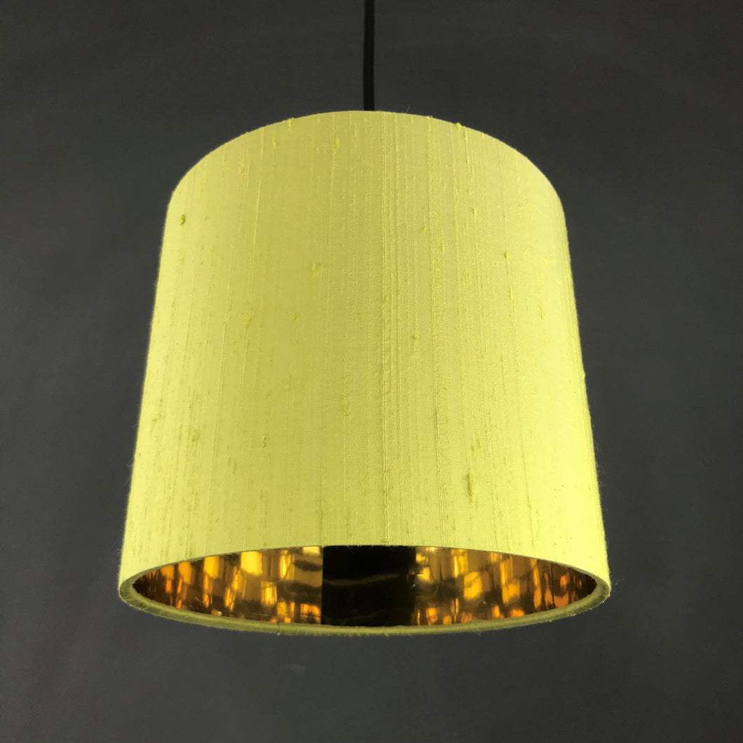 Zesty lime silk lampshade with mirror gold liner