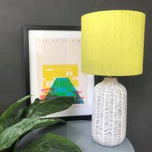 Load image into Gallery viewer, Zesty lime silk lampshade with mirror gold liner