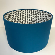 Load image into Gallery viewer, Blue cotton with monochrome dot lampshade