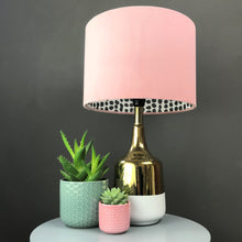 Load image into Gallery viewer, BEST SELLING: Blush velvet with monochrome dot lampshade