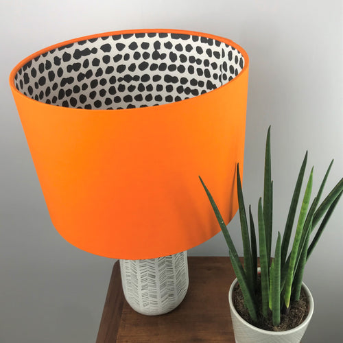 Orange cotton with monochrome dot lampshade
