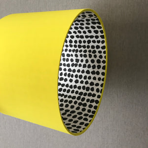 Reserved for Lisa: Yellow cotton and monochrome dot lampshade with turquoise pompoms