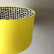 Load image into Gallery viewer, Reserved for Lisa: Yellow cotton and monochrome dot lampshade with turquoise pompoms