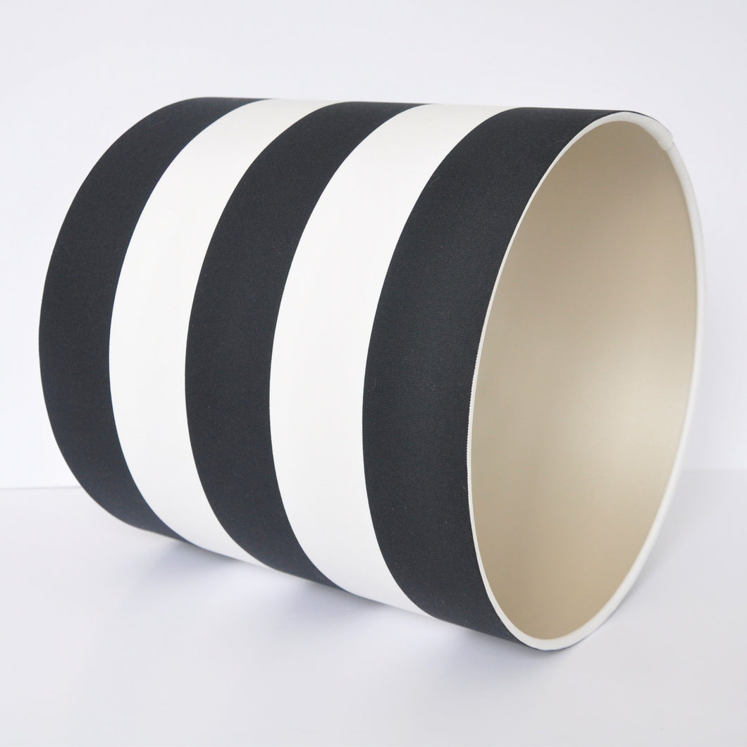 Monochrome stripe with champagne liner lampshade