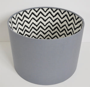 Monochrome and grey lampshade with optional pompom trim