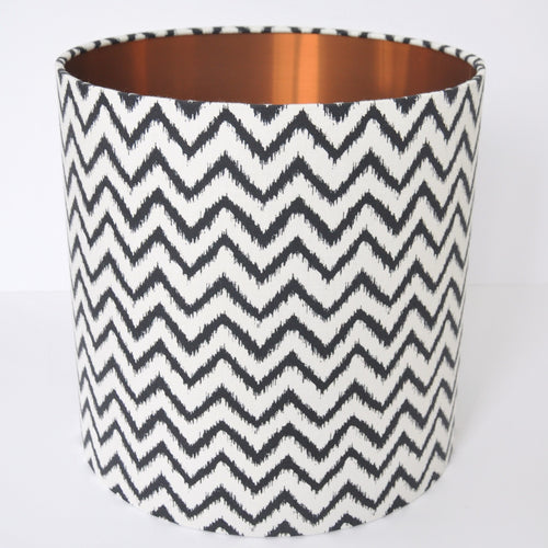 Monochrome wave with brushed copper lampshade