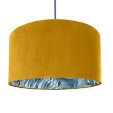 Load image into Gallery viewer, Mustard velvet with blue leaf lampshade