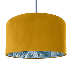 Mustard velvet with blue leaf lampshade