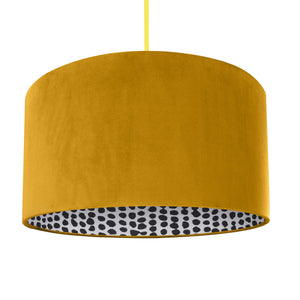 NEW! Mustard velvet with monochrome dot lampshade