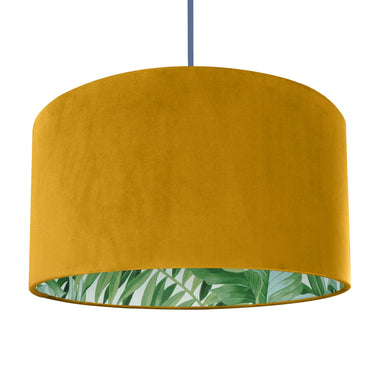Mustard velvet with green leaf lampshade