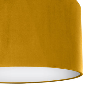 Mustard velvet with opaque white liner lampshade