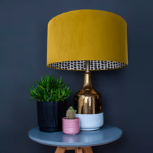 Load image into Gallery viewer, RESERVED FOR DANIEL: Mustard velvet with monochrome dot lampshade