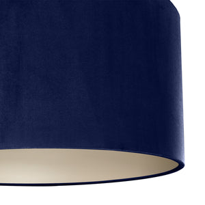 Navy blue velvet with champagne liner lampshade