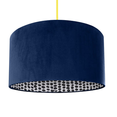NEW! Navy velvet with monochrome dot lampshade