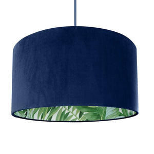 New! Navy blue velvet with green leaf lampshade