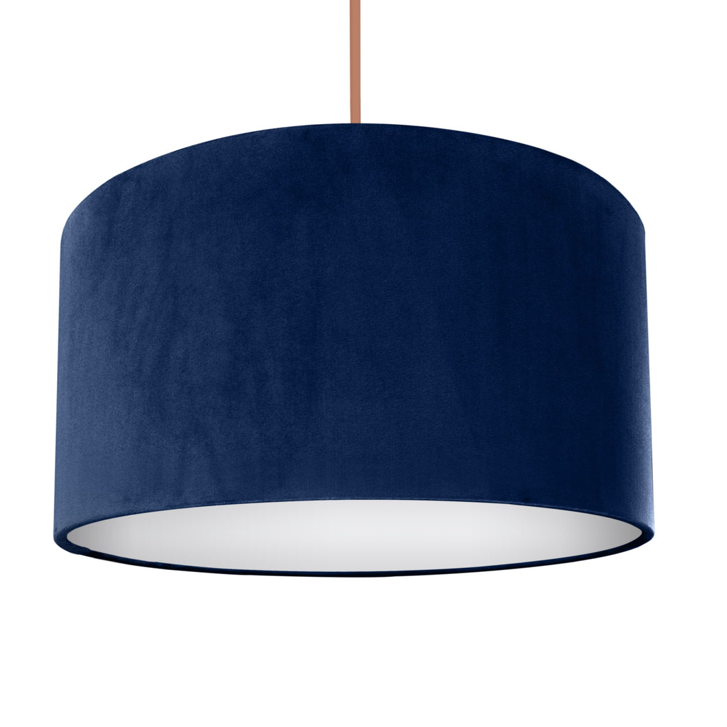 Navy blue velvet with opaque white liner lampshade