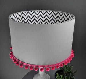 RESERVED FOR KAREN: Grey cotton with white lined lampshade