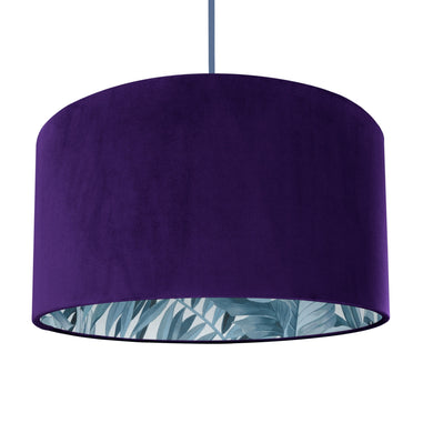 NEW! Purple velvet with blue leaf lampshade