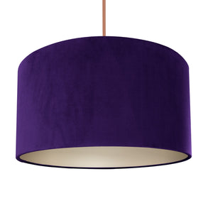 NEW! Purple velvet with champagne liner lampshade