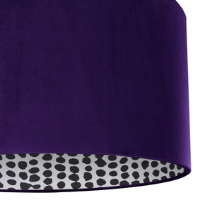 NEW! Purple velvet with monochrome dot lampshade