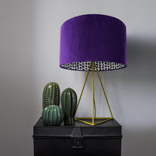 Load image into Gallery viewer, NEW! Purple velvet with monochrome dot lampshade