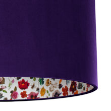Load image into Gallery viewer, NEW: Liberty of London Floral Edit with purple velvet lampshade
